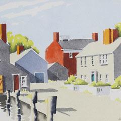 "Doris and Richard Beer Watercolor on Paper ""Easy Street, Nantucket"", circa 1940s"