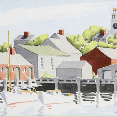 "Doris and Richard Beer Watercolor on Paper ""Old South Wharf, Nantucket"", circa 1940s"