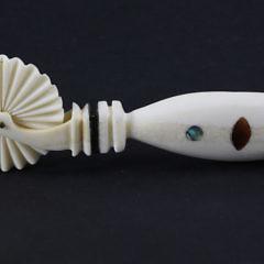 Walrus Ivory Tortoise Shell, Abalone Inlaid Pie Crimper, circa 1850