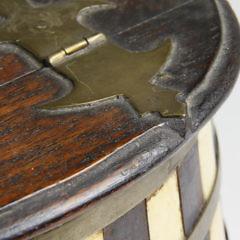 Whaler Made Whalebone Brass and Wood Salt Box, circa 1850
