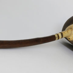 Whaleman Made Ivory Coconut Shell Rum Dipper, circa 1850