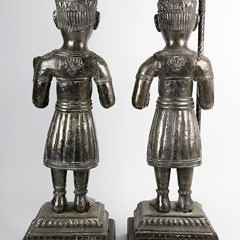 Pair of Antique Tibetin Silver Plated Temple Guardian Figures
