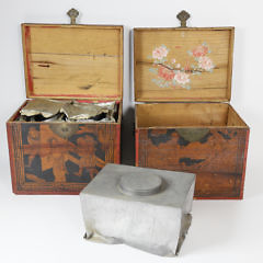 Two Chinese Export Figural Decorated Wood Tea Caddies, circa 1804