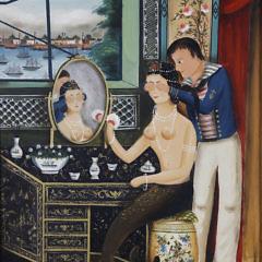 "Ralph Eugene Cahoon Jr. Oil on Masonite ""Sailor's Surprise"""