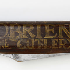 """Very Large """"Obrien Fine Cutlery"""" Folk Art Double Sided Trade Sign, circa 1900"""