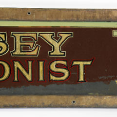 """Reverse Painted Glass Folk Art Trade Sign, """"M. Casey Tobacconist"""", circa 1900"""