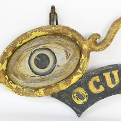 """Cast Iron Paint Decorated Figural """"Oculist"""" Trade Sign"""