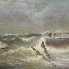 """Charles Henry Gifford Oil on Canvas, """"Saving the Pier in Stormy Seas"""""""