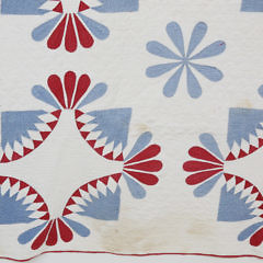American Red, White and Blue Geometric Quilt, 19th Century