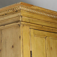 Vintage Irish Pine Two-Part Architectural Breakfront Cabinet