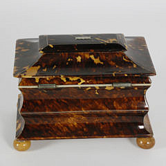 Early 19th Century English Regency Tortoiseshell Double Compartment Tea Caddy