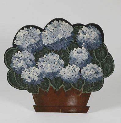 100-4900 Janette Baker Hand Painted Hydrangea Wooden Fireplace Cover A_MG_2674