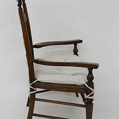 Oversized English Mahogany Rush Seat Ladderback Armchair