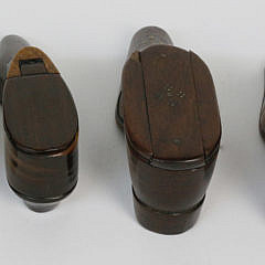 Group of Six 19th c. Carved and Inlaid Wood Shoe Snuff Boxes