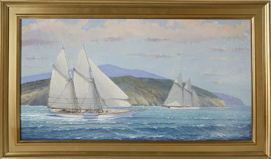 """127-3520 William Lowe Oil, """"Schooner off The Island"""" A_MG_2505"""