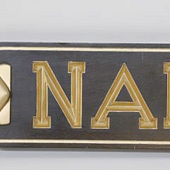 """Carved and Gilt, """"Nantucket"""" Quarterboard Flanked with Scallop Shells"""