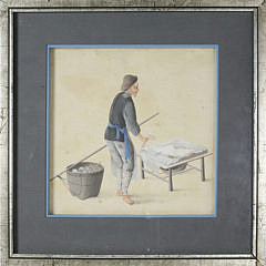 1514-54 Occupational Watercolor on Paper of a Japanese Man Working A_MG_3181