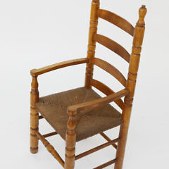 Antique Cherry and Oak Child's Ladder Back Armchair