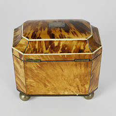 Early 19th c. English Regency Tortoiseshell Double Compartment Tea Caddy