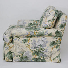 Green and Creme Floral Upholstered Armchair