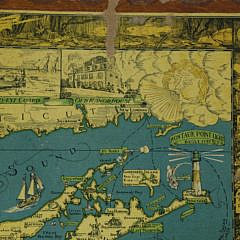 1930s Cortland Smith Pictorial Informational Map of Long Island