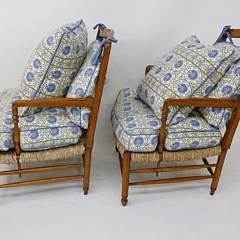 Pair of French Provincial Cherry Rush Seat Armchairs