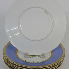 Set of Six French Hand Painted Floral Bouquet Luncheon Plates, 19th c.
