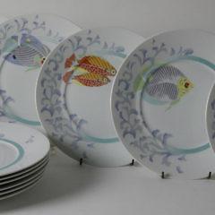 "32-4878 Limoges ""Craïbes"" Fish Dinner Plates A_MG_2232"