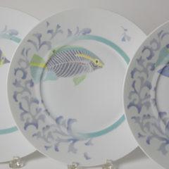 "Set of Twelve Bernardaud Limoges ""Craïbes"" Fish Dinner Plates"