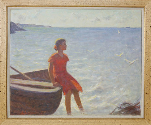 """32-4890 A. Abicenko Oil on Canvas, """"On The Shore"""" A_MG_3194"""