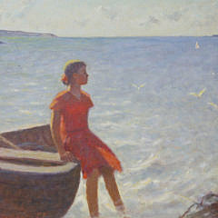"A. Abicenko Oil on Canvas, ""On The Shore"""