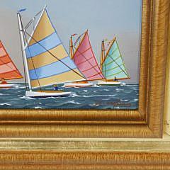 "Jerome Howes Oil on Panel, ""Nantucket Rainbow Fleet"""