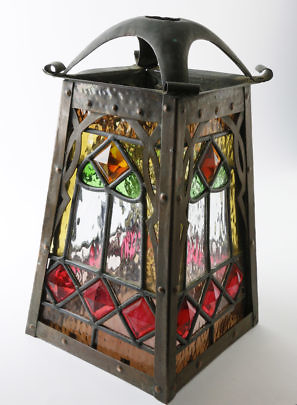 36-4878 Arts and Crafts Copper, Leaded Glass Lantern A_MG_2359