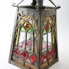 Arts and Crafts Copper and Leaded Glass Hanging Lantern