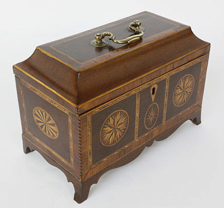 372-3771 Multi Wood Inlaid Chippendale Triple Compartment Tea Caddy A_MG_3188