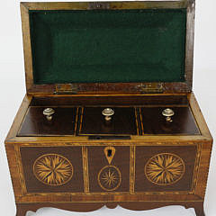 Multi-Wood Inlaid Chippendale Triple Compartment Tea Caddy, 19th c.