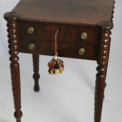 377-3771 Mahogany Sheraton Two Drawer Work Stand A_MG_2289