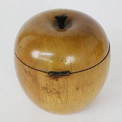 18th Century English Cherry Wood Apple Form Tea Caddy