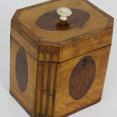 381-3771 English Regency Satinwood Canted Corner Single Compartment Tea Caddy A_MG_3151