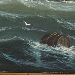 Salvatore Colacicco Oil on Wood Panel of British Man-o-War Fleet in the Open Seas