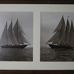 "39-4810 Two Framed Sepia Toned Photographs of the Three-Masted Racing Yacht, ""Cerole"" A_MG_3206"