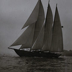 "Two Framed 19th c. Sepia Toned Photographs of the Three-Masted Racing Yacht, ""Creole"""
