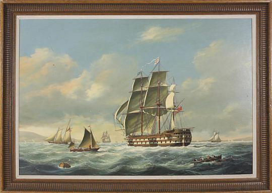 390-3771Salvatore Colacicco Oil of a British Man-o-War Entering Port A_MG_2627