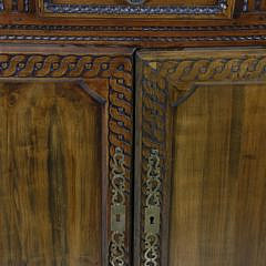 Antique French Provincial Carved Walnut Open Hutch Buffet