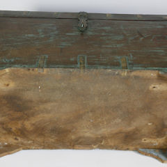 Contemporary Teak Brass Bound Trunk with Blue Washed Paint