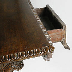 19th c. Teak Spanish Colonial Carved Library Table