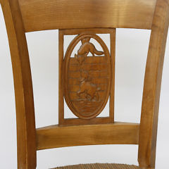 Set of Six Fruitwood Carved Rush Seat Dining Chairs, circa 1900