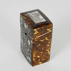 Early 19th c. English Regency Tortoiseshell Inlaid Traveling Box