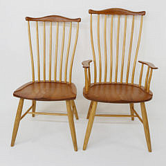 Set of 8 Stephen Swift Cherry and Ash Pomfret Windsor Dining Chairs