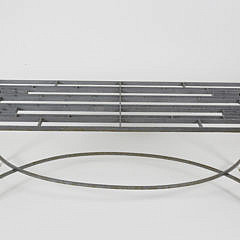 Contemporary Iron and Glass Top Coffee Table